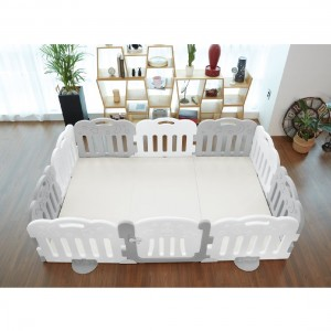 Caraz 9+1 Baby Room and Play Mat Set with Panel Holders - Grey + White