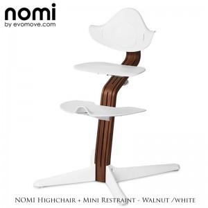 Nomi by Evomove Nomi Highchair + Mini Restraint - Walnut / White