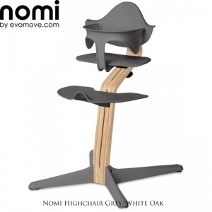 Nomi by Evomove Nomi Highchair + Mini Restraint - White Oak / Grey