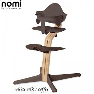 Nomi by Evomove Nomi Highchair + Mini Restraint - White Oak / Coffee