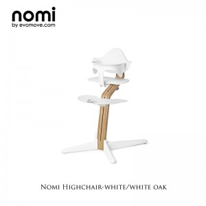 Nomi by Evomove Nomi Highchair + Mini Restraint - White Oak / White