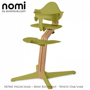 Nomi by Evomove Nomi Highchair + Mini Restraint - White Oak / Lime