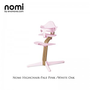 Nomi by Evomove Nomi Highchair + Mini Restraint - White Oak / Pink