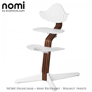 Nomi by Evomove Nomi Highchair + Mini Restraint - Walnut / White
